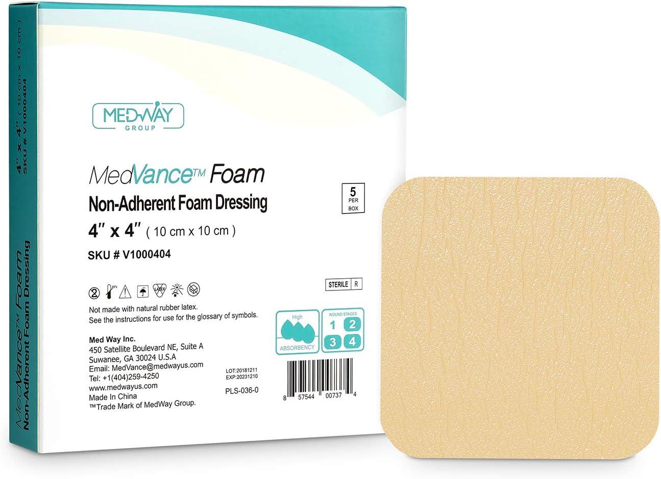 MedVancTM Espuma - Apósito de espuma hidrofílica no adhesiva impermeable 10 cm x 10 cm Caja de 5 apósitos: Amazon.es: Salud y cuidado personal