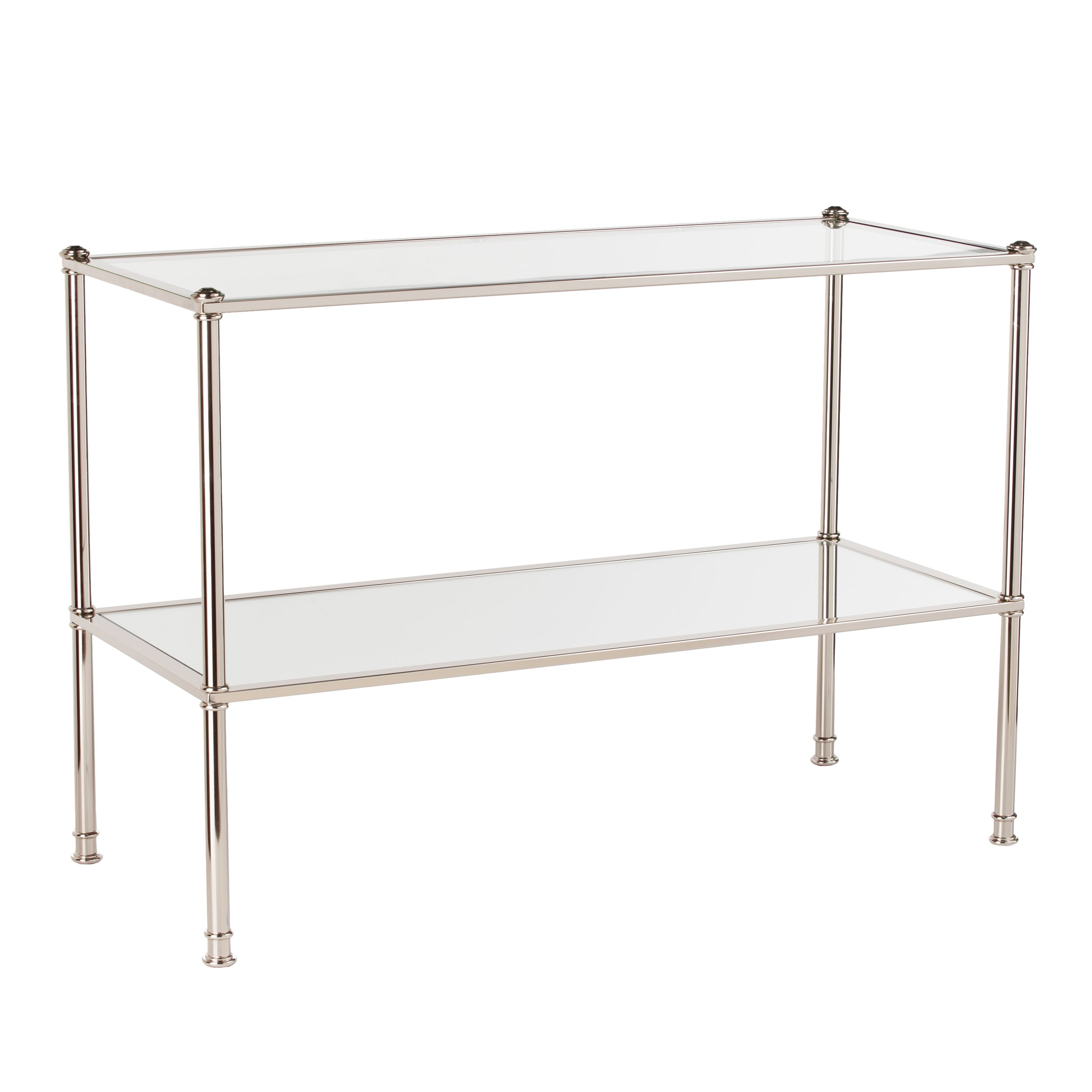 Paschall Console Table - 2 Tier Tempered Glass - Metallic Silver Finish Metal Frame by Southern Enterprises