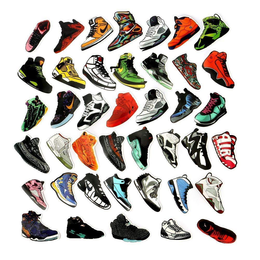 Fashional stickers 40pcs jordan aj sneakers theme waterproof vinyl stickers car sticker motorcycle bicycle laptop stickers decal graffiti patches