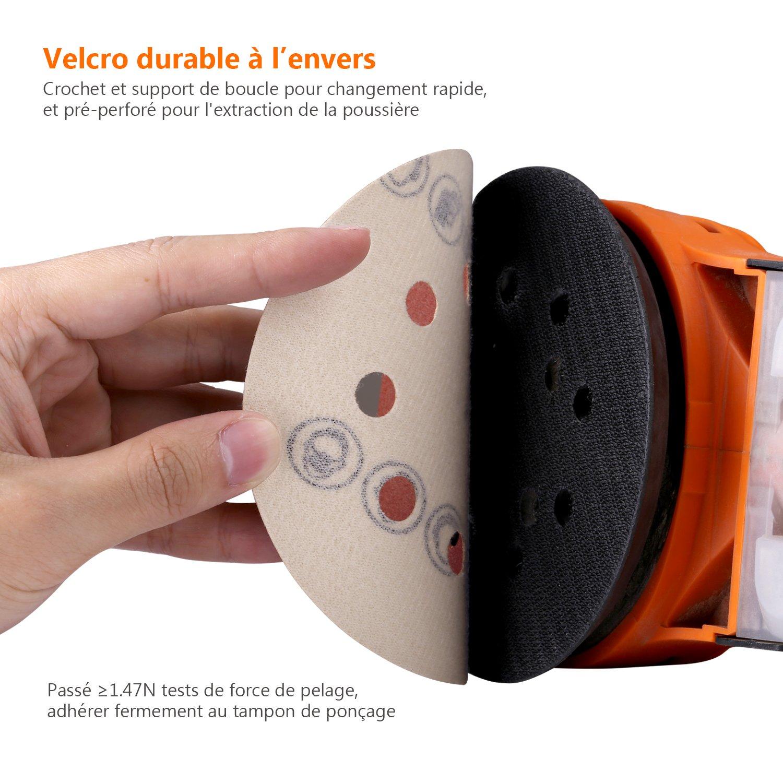 Disque de Pon/çage 60pcs Tacklife Disques Abrasifs 40//60//80//120//180//240 Grain Taille de 125mm Id/éal pour Poncer// Polir// D/érouiller ASD03C