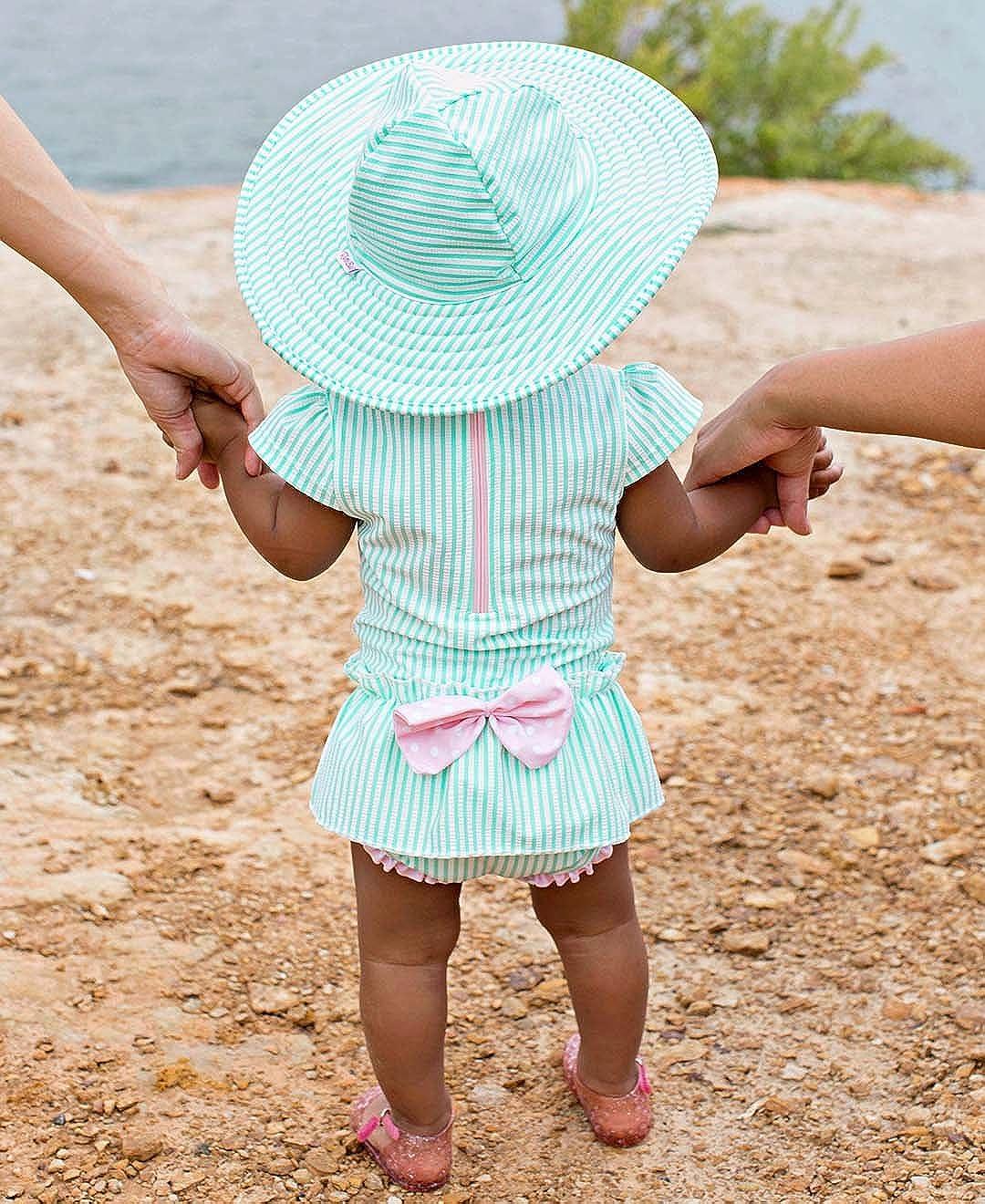 RuffleButts Girls UPF 50 Sun Protective Wide Brim Seersucker Swim Hat