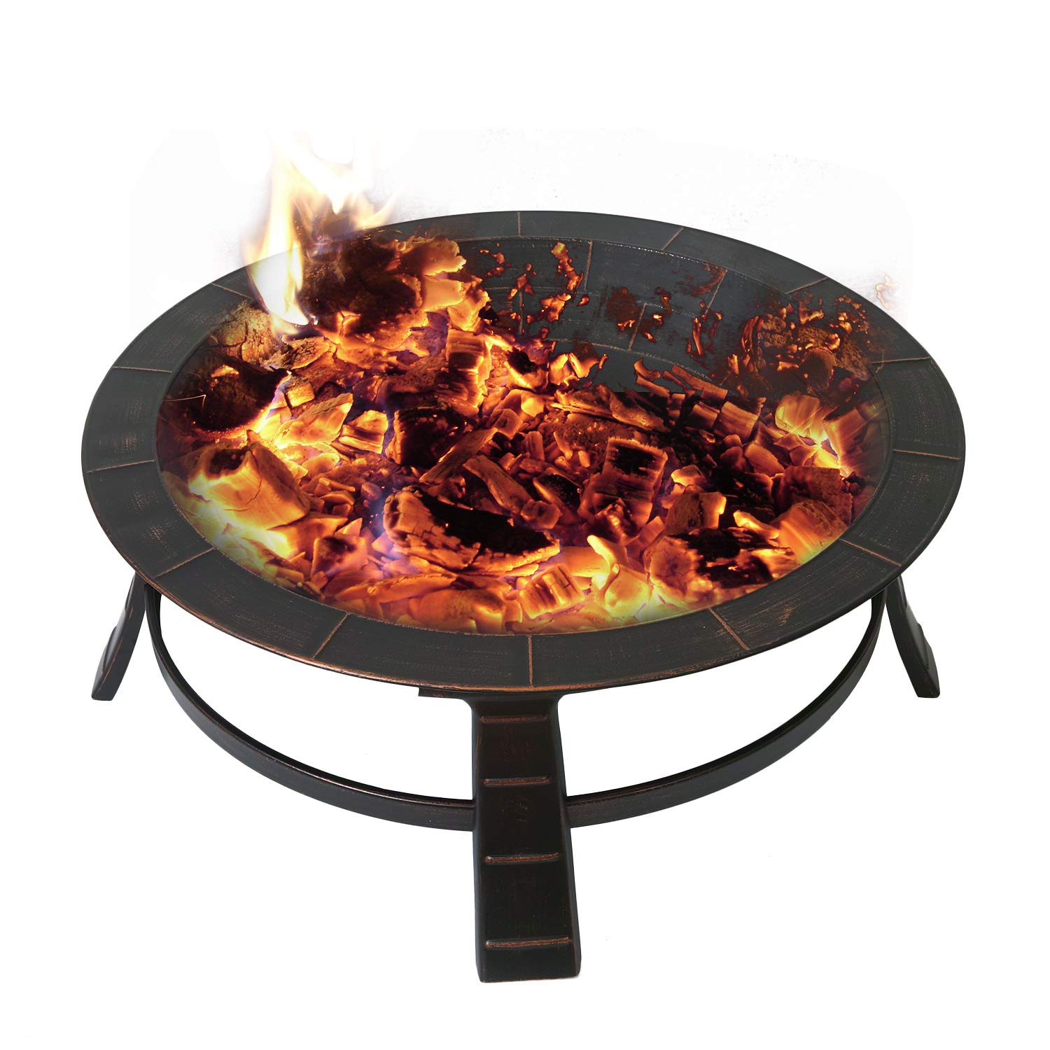 Adeco FP0015 30 Inches Fire Pit with Cover, Antique Bronze by Adeco