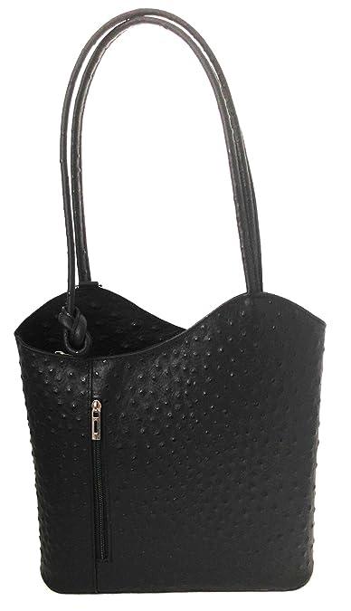 CTM Bag Frau Hobo, 28x30x9cm, echtes Leder 100% Made in Italy Chicca Tutto Moda