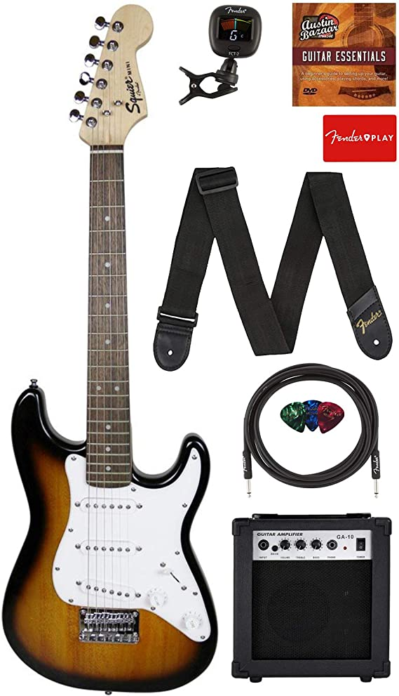 Fender Squier 3/4 Size Kids Mini Strat Electric Guitar Learn-to-Play Bundle w/ Amp