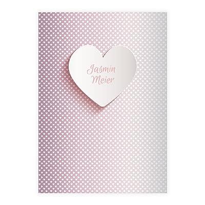 4 Jolis cahiers romantiques personnalisés avec des coeurs , rose, A4 (29,7 x 21; 32p) cahiers de maths, (carreaux 7mm; sans bord) linéatur 7