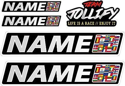Jollify Wunschname Aufkleber Dein Fahrername 10cm Sticker Set Mit Flagge Blutgruppe Oder Emojy Dein Name Als