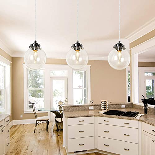 PUZHI HOME 3-Light Glass Pendant Ceiling Light Modern Kitchen Island Light Industrial Chandelier Light Fixture Pendant Lighting for Modern Kitchen Dining Room Living Room