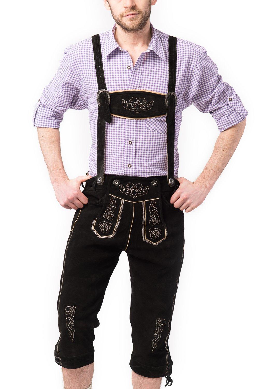 Tannhauser, Pantalones de Cuero para Hombre, Negro, 52 (Peter)
