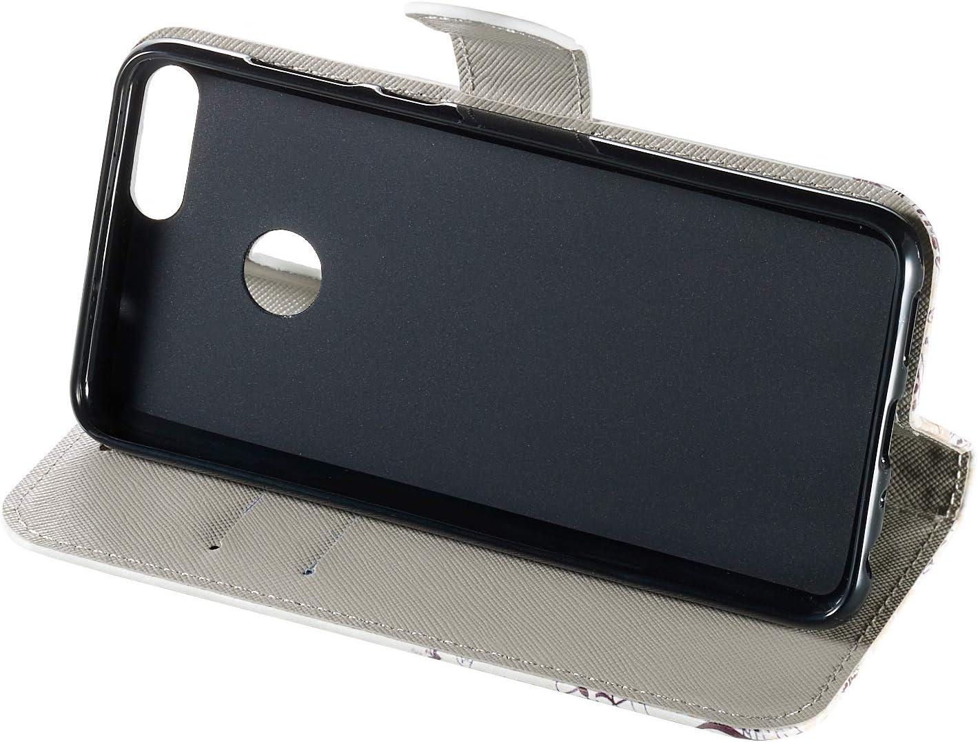 JCKHM compatible con Huawei P Smart//enjoy 7S Funda de Cuero Piel PU Wallet Flip Case Estuche Funda de cuero pintada en 3D con cord/ón Cover 360 Grados Full Body Cover Cartera Bumper Case,Elefante