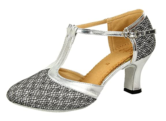 1920s Style Shoes Honeystore Womens Latin Dance Closed Toe T Strap Glitter Mary Jane Dance Shoes  AT vintagedancer.com