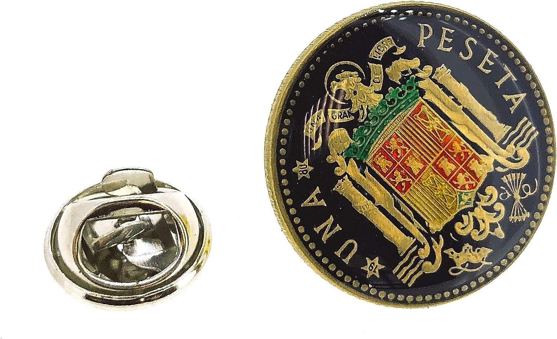 Gemelolandia Pin de Solapa Moneda Original Pintada a Mano 1 Peseta Aguila de San Juan Multicolor: Amazon.es: Ropa y accesorios