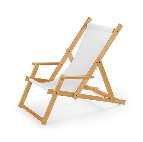 Sedie Sdraio Legno Con Braccioli.Sedia A Sdraio In Legno Con Braccioli Da Giardino O Da Spiaggia