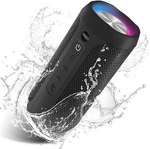 EDUPLINK Wireless Bluetooth Speaker 24W Bluetooth Portable Home Party Speaker with Pulsating Lights IPX7 Water Proof Portable Bluetooth Speaker with Mic Hand Free