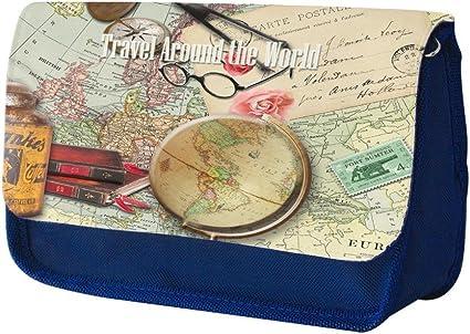 Postales Antiguas VP022, Alrededor del Mundo, Azul Escuela Niños Sublimación Alta calidad Poliéster Estuche de lápices con Diseño Colorido. 21x13 cm.: Amazon.es: Oficina y papelería
