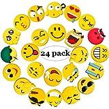 Fridge Magnets, 24 Pack Emoji Refrigerator PVC Magnets, Novelty Kitchen Decorative Whiteboard Office Supplies Funny Housewarming Gift