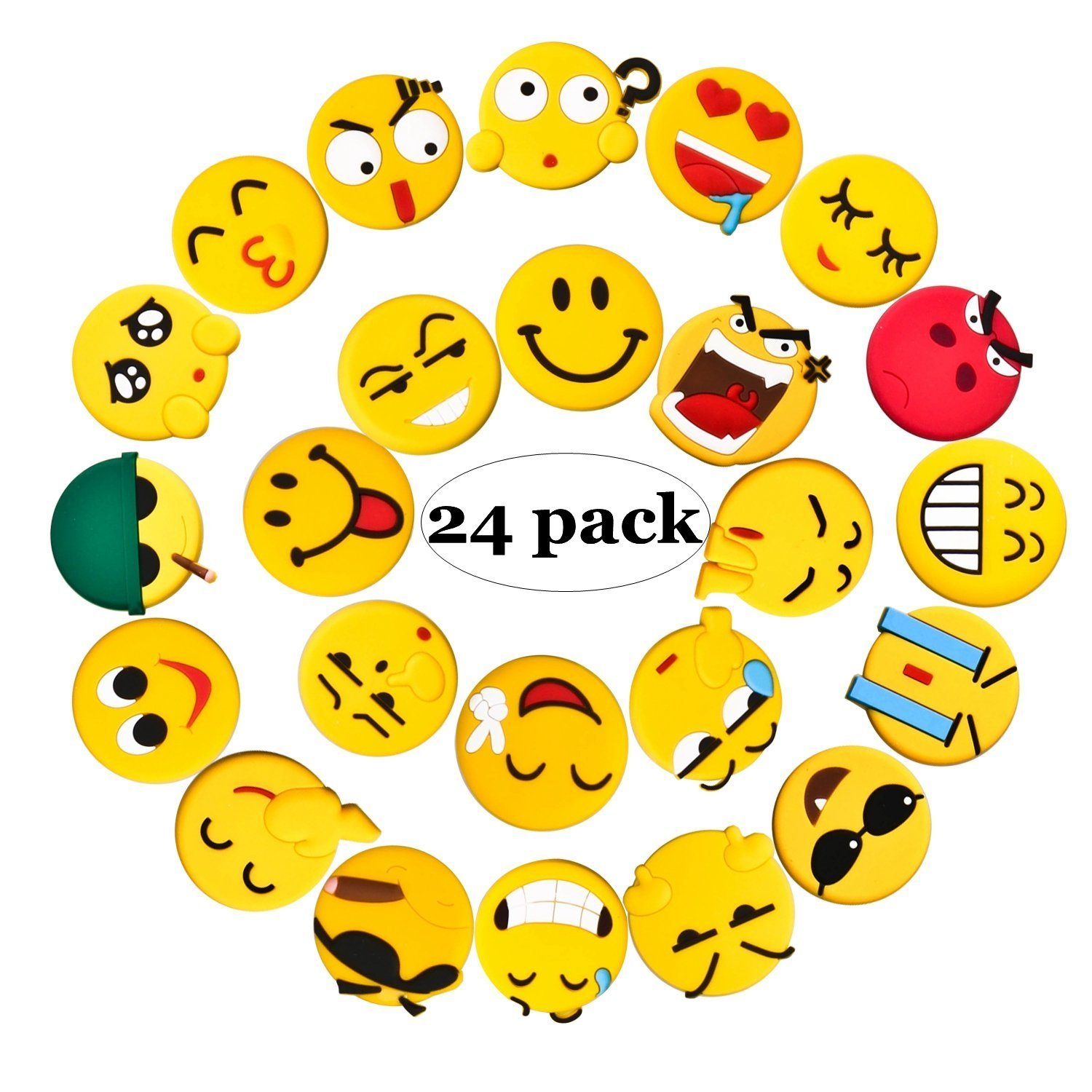 Fridge Magnets, 24 Pack Emoji Refrigerator PVC Magnets, Novelty Kitchen Decorative Whiteboard Office Supplies Funny Housewarming Gift FJBMW
