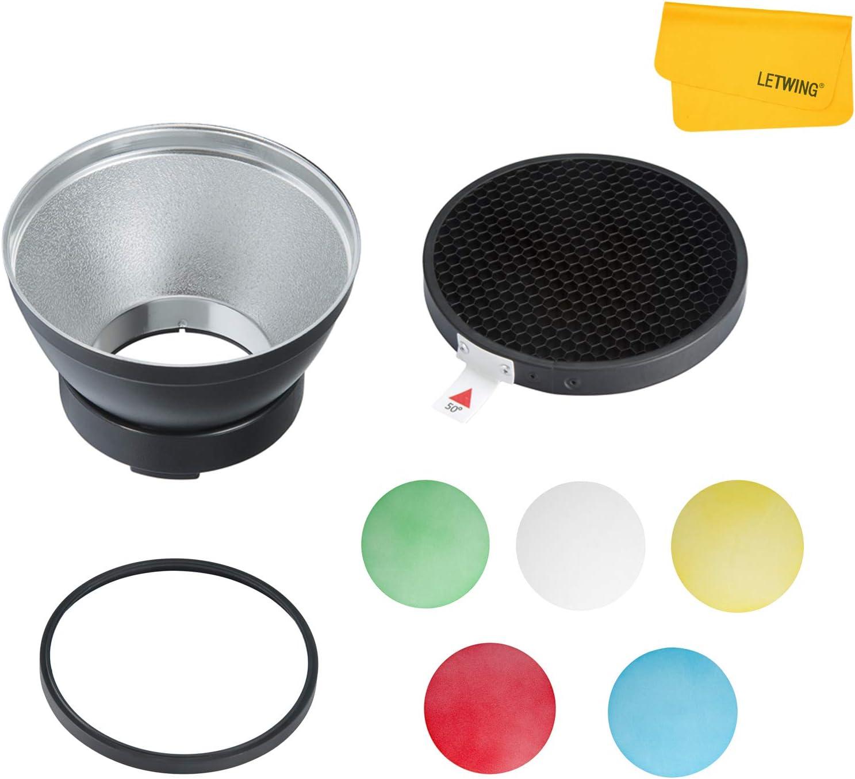GODOX AD-R14 Reflector est/ándar con panal y 5 filtros de color para Godox AD300 Pro Godox AD400 Pro Studio Strobe flash exterior