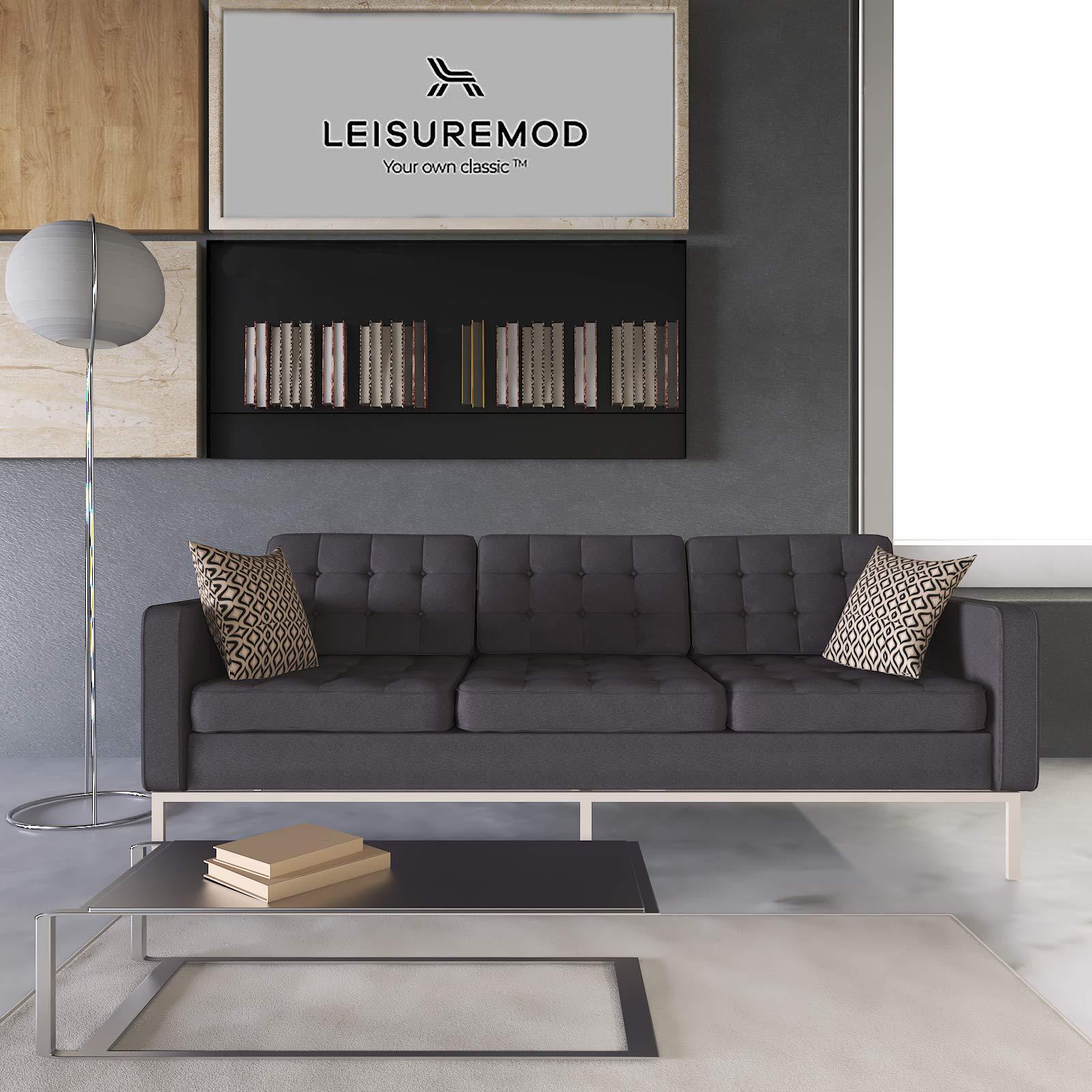 LeisureMod Florence Style Mid Century Modern Tufted Sofa (Dark Grey Wool) by LeisureMod