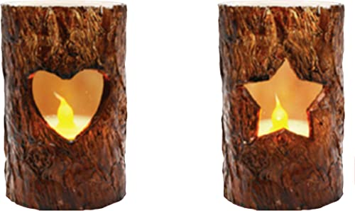 THEA HOME LED Flameless Birch Bark Candles,Decorative LED Flickering Candles with Batteries,Pack of 2,Special Candles for Christmas and Halloween.