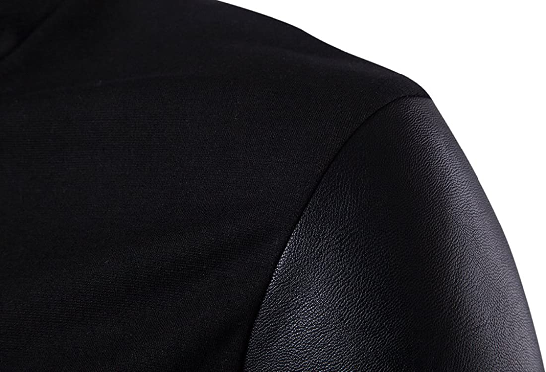 WSLCN Mens Fashion Knit Zipper Cardigan Stitching Artificial Leather Sleeves Irregular Placket
