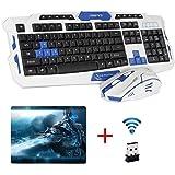 UrChoiceLtd® CityForm HK8100 Wireless Multimedia Spiel Tastatur + 2.4GHz 6 Tasten Maus Set Weiß Blau