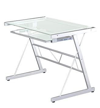 Glas Computertisch Eggree Klein Home Office PC Notebook Laptop Tisch Schreibtisch Workstation Mit Silding