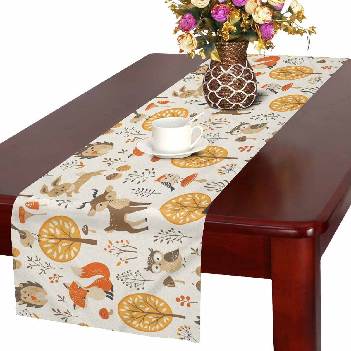 InterestPrint Autumn Forest Table Runner Home Decor 16 X 72 Inch,Cute Animal Table Cloth Runner for Wedding Party Banquet Decoration