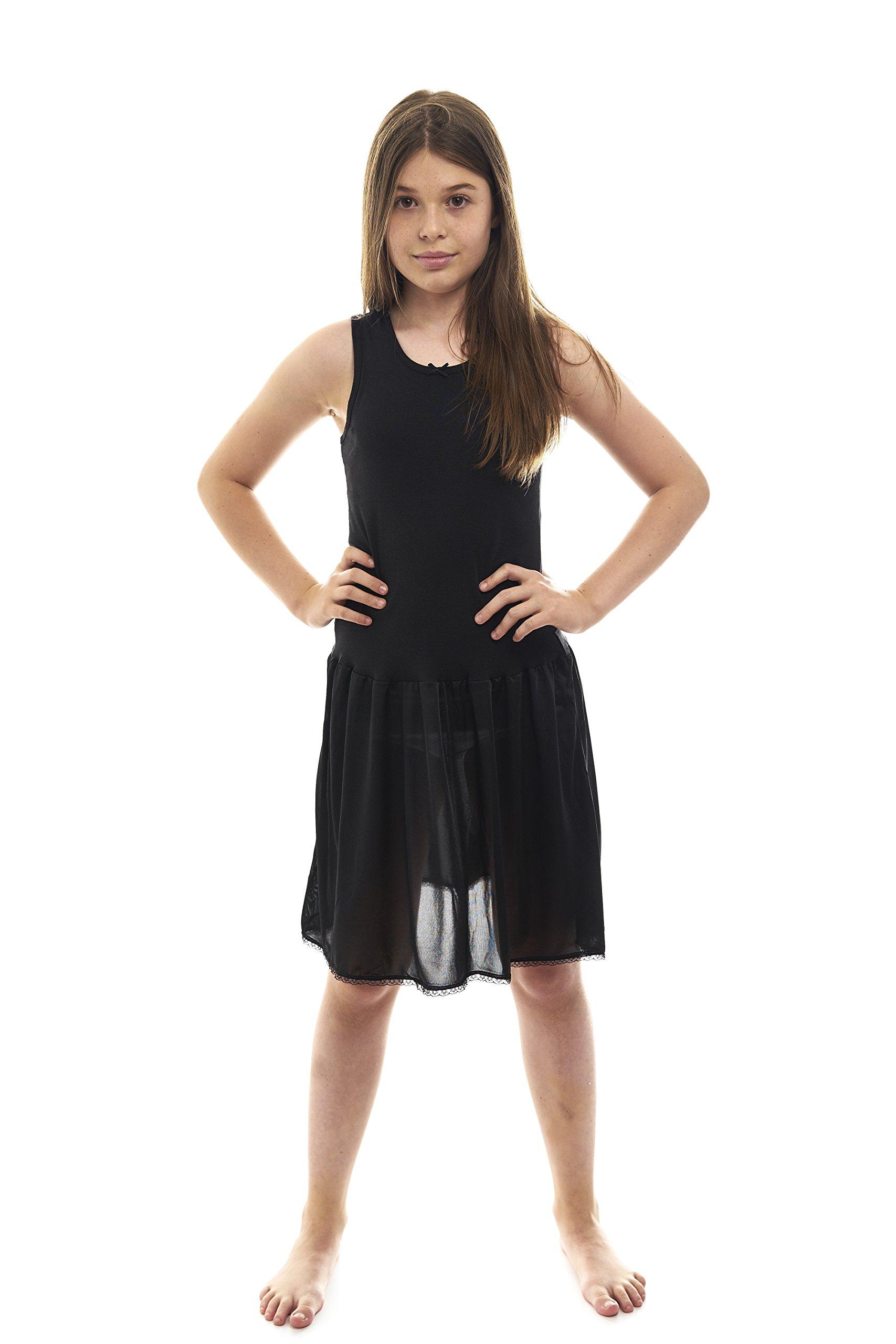 Rossette Sleeveless Full Slip for Girls - Cling Free - Cotton / Nylon Material Black 14