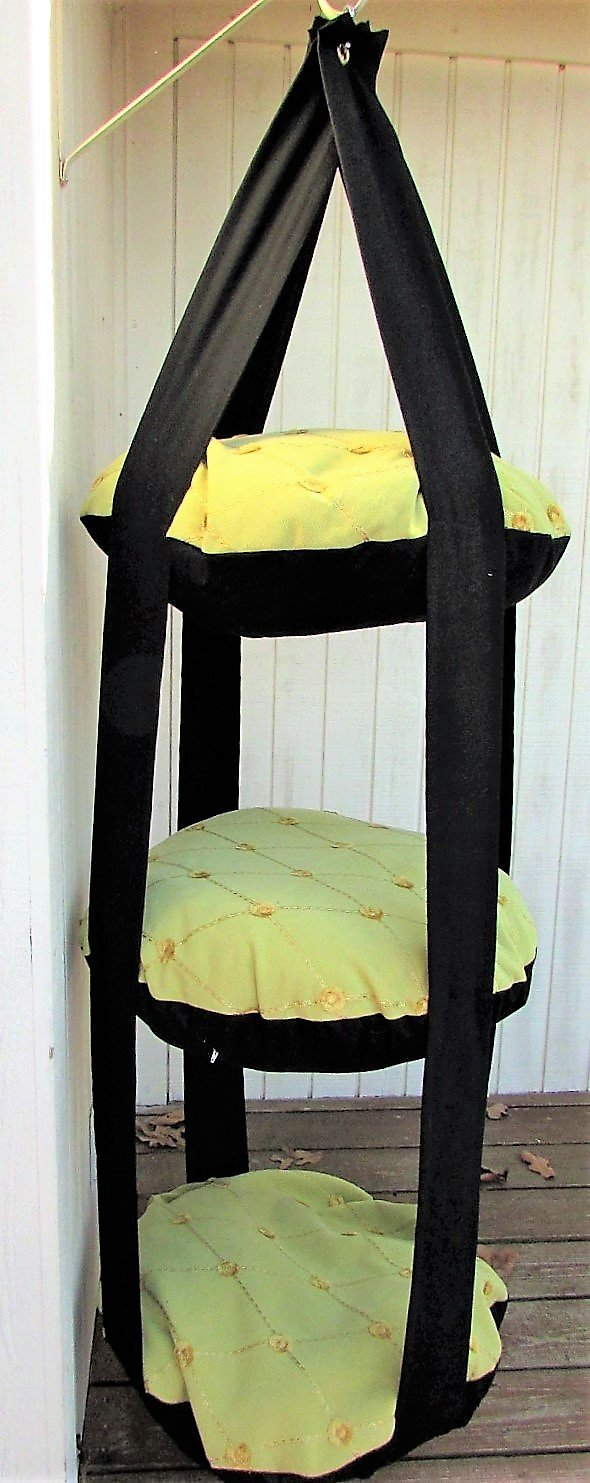 Cat Bed, Chartreuse & Black Cat Bed, Triple Kitty Cloud, Hanging Cat Bed, Pet Furniture, Cat Tree