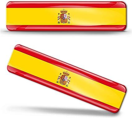 Biomar Labs® 2 pcs 3D Gel Pegatinas Bandera Nacional España Spain Silicona Adhesivo Autos Coches Motos Ciclomotores Bicicletas Ordenador Portátil F 21: Amazon.es: Coche y moto