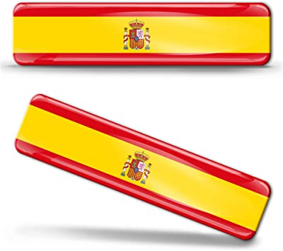 Biomar Labs® 2 pcs 3D Gel Pegatinas Bandera Nacional España Spain ...