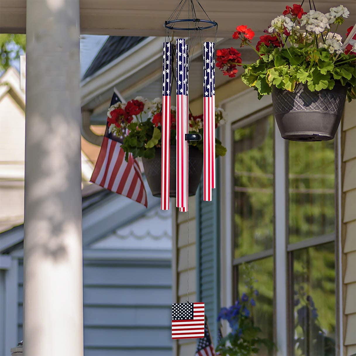 American Flag Wind Chime - Large Outdoor Patriotic Windchime with Wooden Plaque This 45 inch Sturdy Metal Unique Memorial Wind Chimes has deep Tone and is a Great Hanging Outdoor Decor Decoration