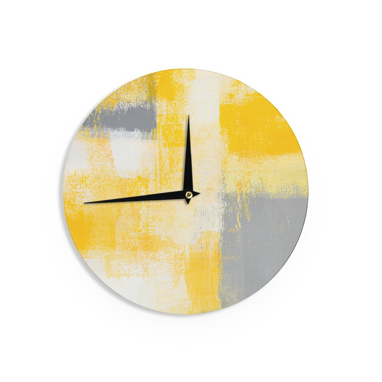 Kess InHouse CarolLynn TICE Breakfast Grey Gold Wall Clock 12 Diameter