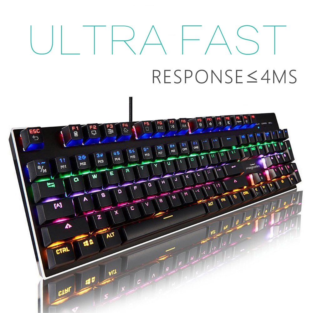 Mechanical Gaming Keyboard-Backlit Wired Gaming Keyboard-104 Keys Preset Customizable Lighting Effects PC Mac Gamers-Pro Gamers by Magicelec