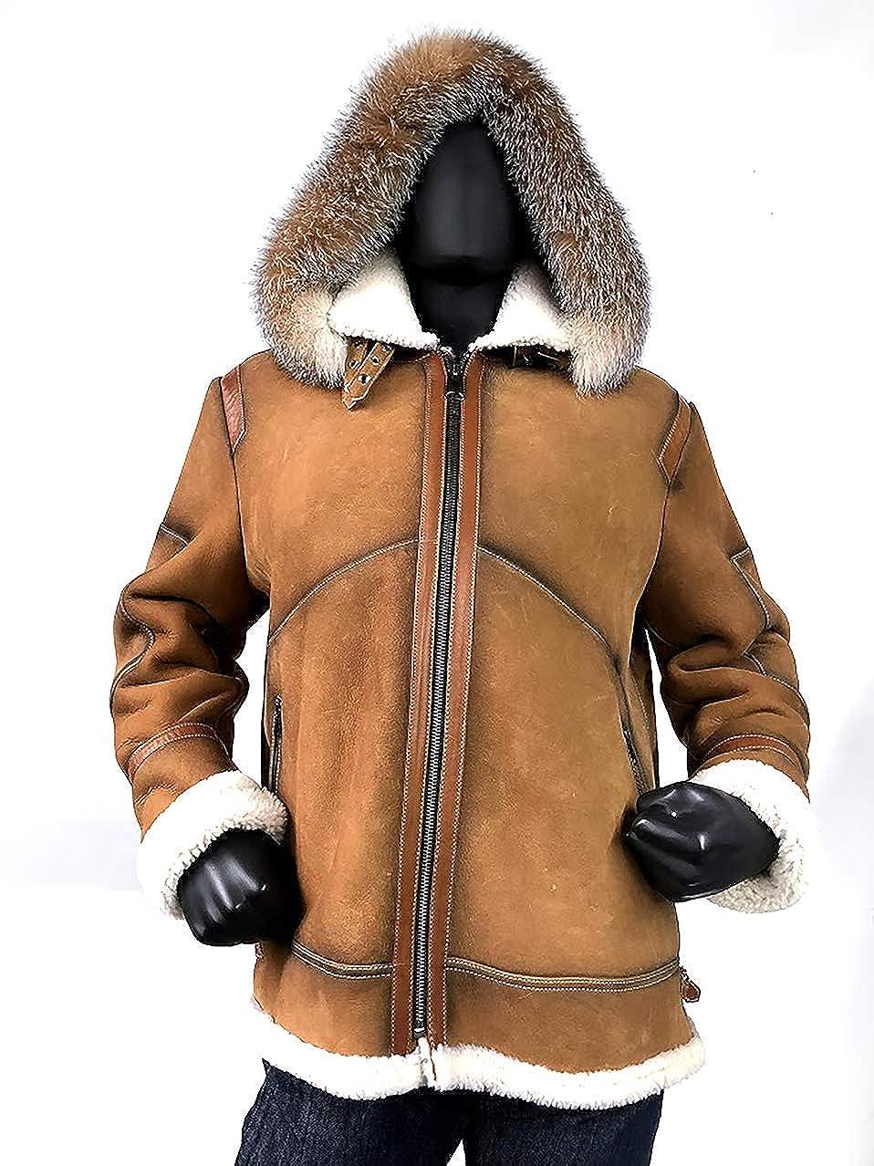 01caa113f Winter Mens Shearling Sheepskin Leather Aviator Bomber Jacket B3 ...