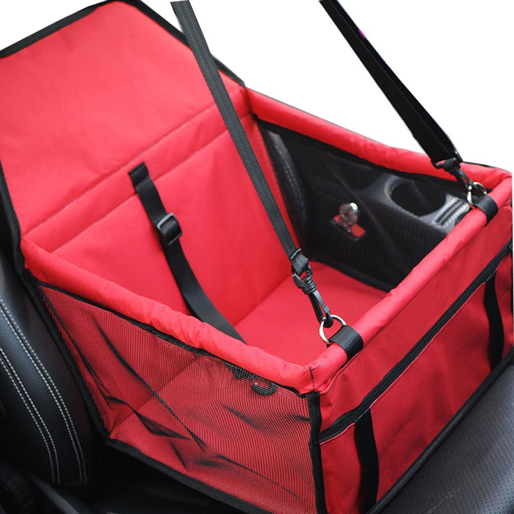 Leber Dog Car Seat Booster Portable Breathable Bag & Foldable Pet Booster with Safety Leash and Seat Belt,Dog Carrier with and Zipper Storage Up To 20Lbs for Dog or Cat