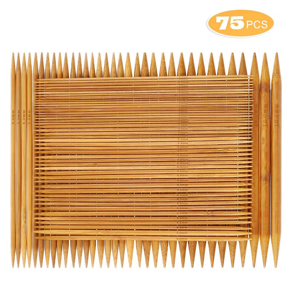 Straight Knitting Needles Set Bamboo Wood Single Point 18 Pairs Sizes 0-15 US