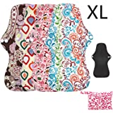 Asenappy XL Heavy Flow Sanitary Reusable Cloth Menstrual Pads | 5 Pack Washable Sanitary Napkins with Charcoal Absobancy Layer (X-Large)
