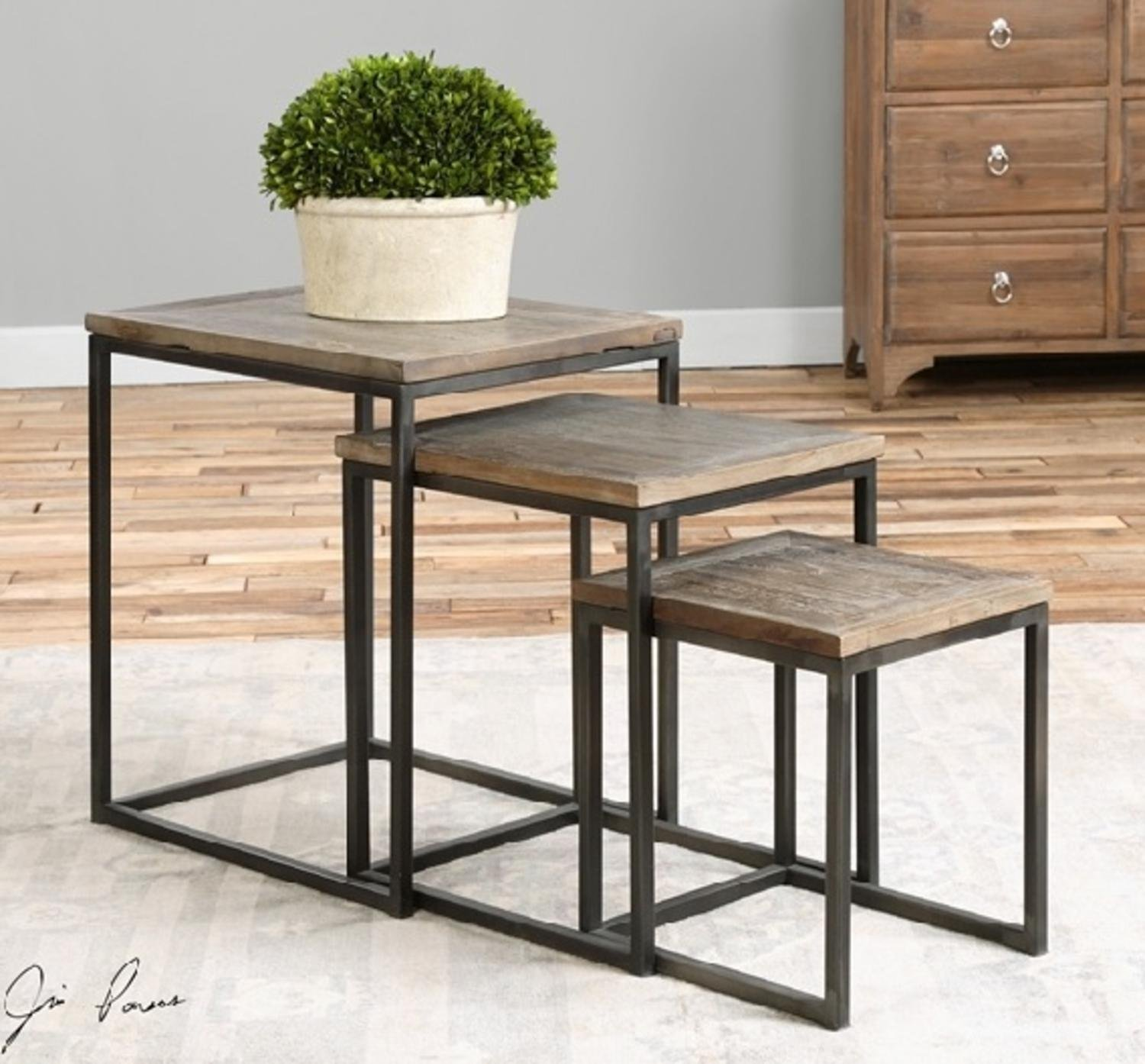 Set of 3 Eco-Friendly Recycled Elm Square Wooden Nesting Tables 24''