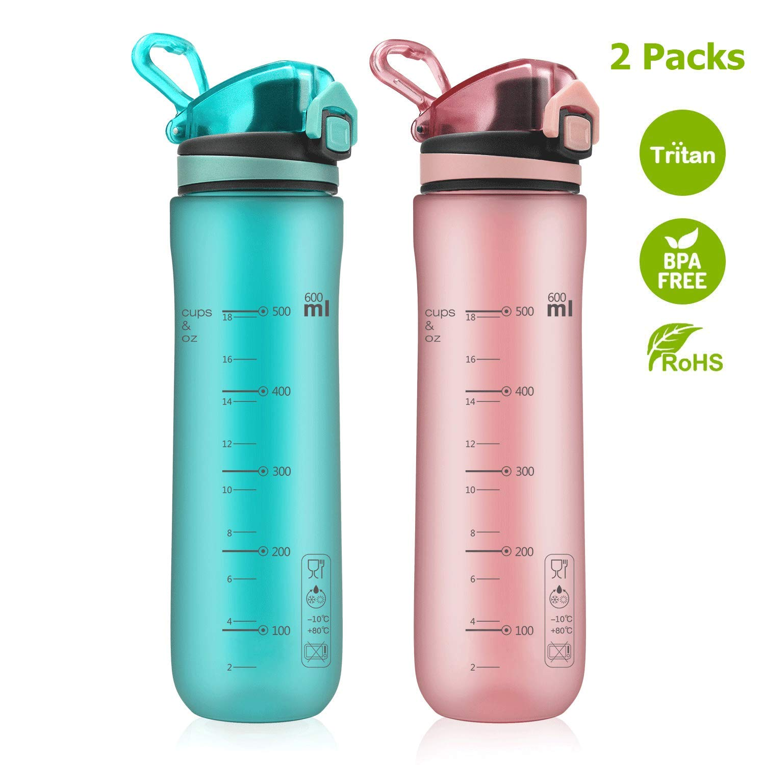 Letsfit Sports Water Bottle, BPA-Free Tritan Plastic Water Bottle with Locking Flip-Flop Lid, Leakproof and Dustproof Cap, Carry Loop, 21oz Bottle for Outdoor Hiking Camping Travel