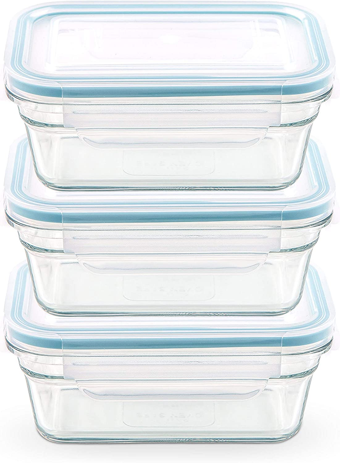 Snaplock Lid Tempered Glasslock Storage Rectangular Container Airtight 3 Container Set Anti Spill Microwave & Oven Safe 1.6cups/378ml