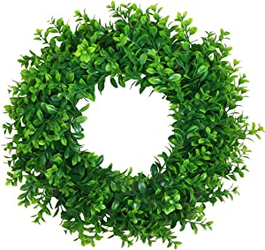 "U'Artlines 18"" Natural Garland Front Door Wreaths, Artificial Greenery Hanging Wreath for Home Party Indoor Outdoor Window Wall Wedding Decoration (18"" Type A)"