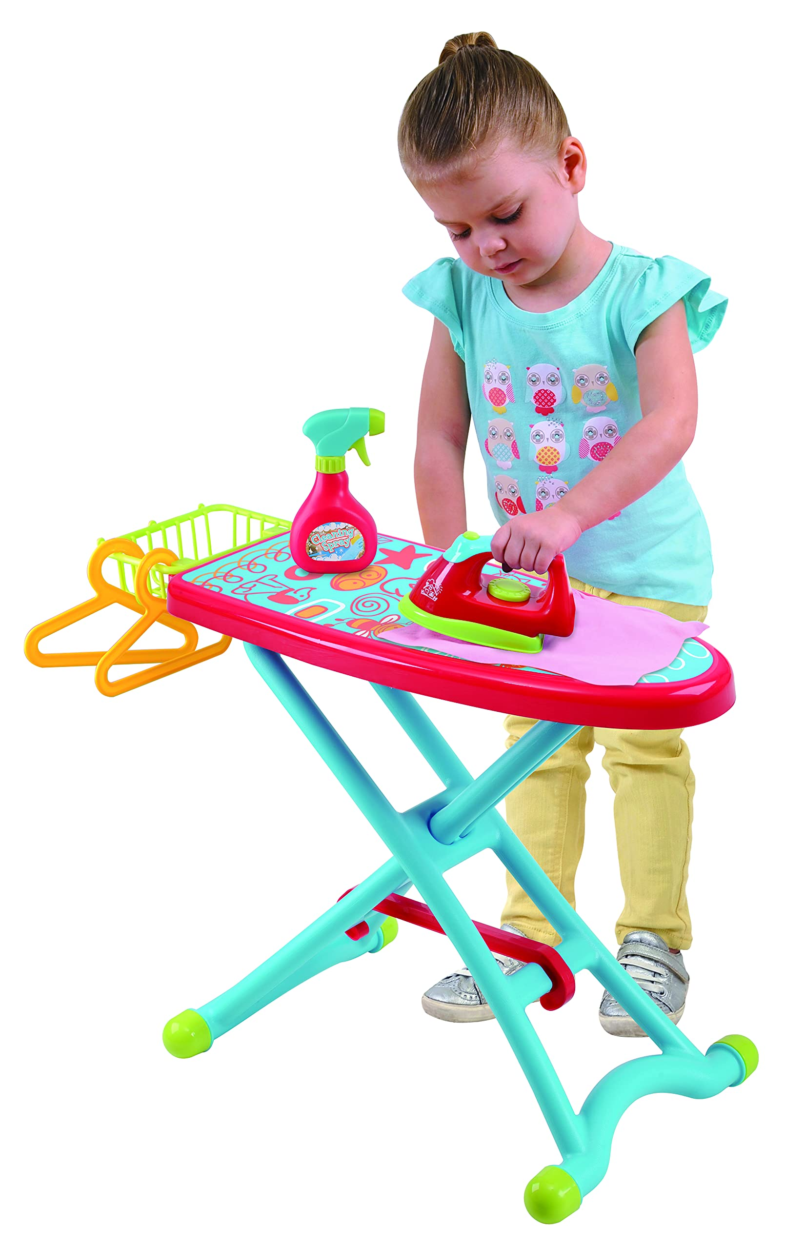 PlayGo Housework Ironing Children Kid's Toy Clothing Iron Board Playset 6Piece - Clothes Iron, Ironing Board, & Accessories, Multicolor (3380)