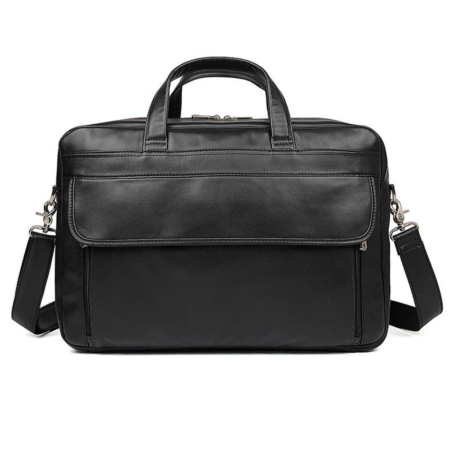 Rouroumaoyi Mens Shoulder Bag Leather Mens Bag Business Tote Leather Napa Leather Large Briefcase Color : Black, Size : L