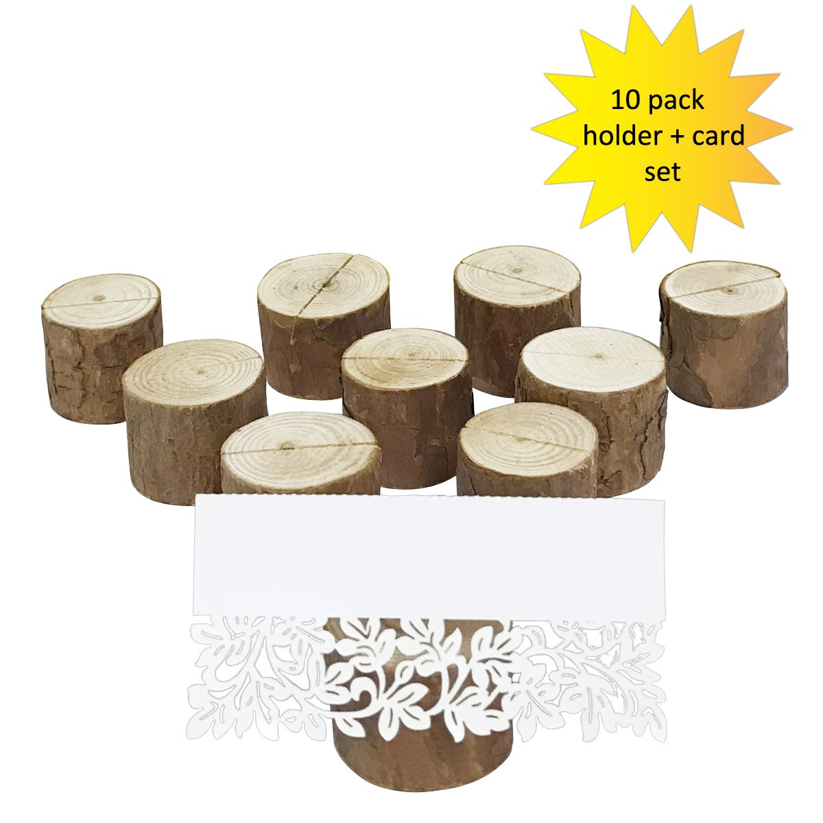 Allydrew 10 Pack Natural Wood Table Name Place Card Holders with Place Cards for Wedding and Party Decorations