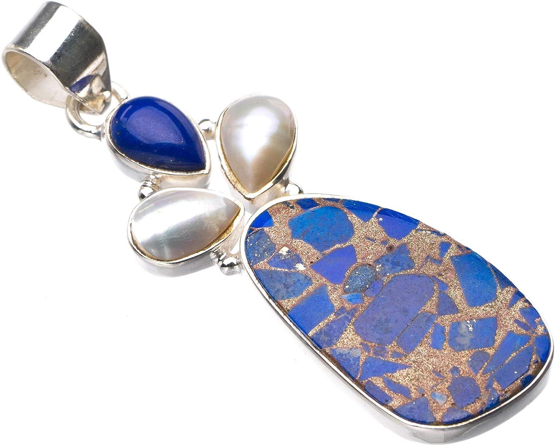 StarGems E0192 - Colgante de plata de ley 925 de cobre natural, calcedonia, lapislázuli y perla de río hecho a mano