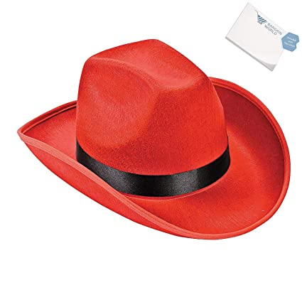 ad44acca06f Amazon.com  Bargain World Polyester Adult s Red Cowboy Hat (With Sticky  Notes)  Home   Kitchen