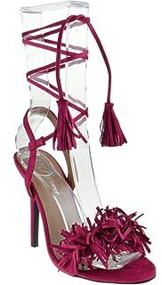 07f1216a12 Amazon.com | BAMBOO Stash-02V Women's Woven Strappy Chunky Heel ...
