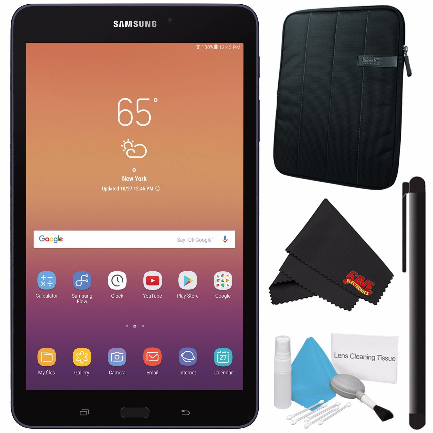 Samsung 8.0'' Galaxy Tab A 8.0 32GB Tablet (Wi-Fi Only, Black) SM-T380NZKEXAR + Deluxe Cleaning Kit + MicroFiber Cloth + Universal Stylus for Tablets + Tablet Neoprene Sleeve 10.1'' Case (Black) Bundle