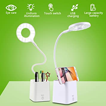 Lámpara Escritorio LED,Lámpara de Mesa USB Regulable Recargable con Portalápices Escritorio y Panel Táctil, Blanco [Clase de eficiencia energética ...